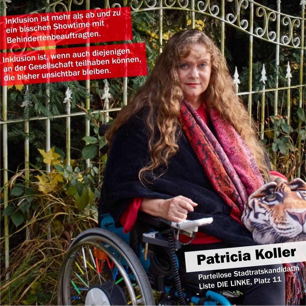 Patricia Koller sitzt lächeldn im Rollstuhl vor einem hübschen Zaun. Text wie unter dem Foto.