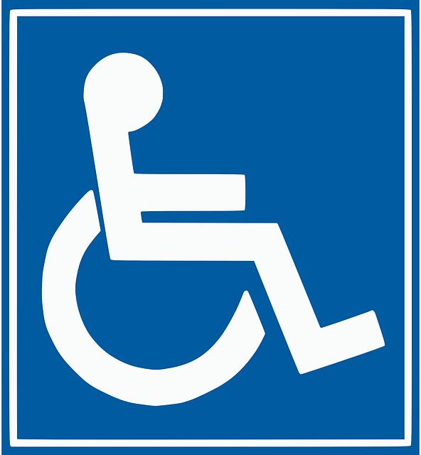 Das blau-weiße Rollstuhlfahrersymbol