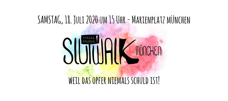 Slutwalk München Logo. Weil das Opfer niemals schuld ist!