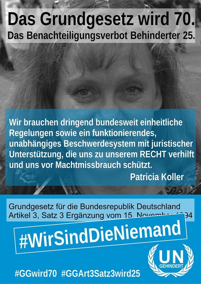 Schwarz-weiß-Foto von Patricia Koller mit dem weißblauen UNgehindert-Logo und dem Text, der auch unter dem Foto zu lesen ist.