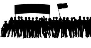 Grafik mit protestierenden Menschen