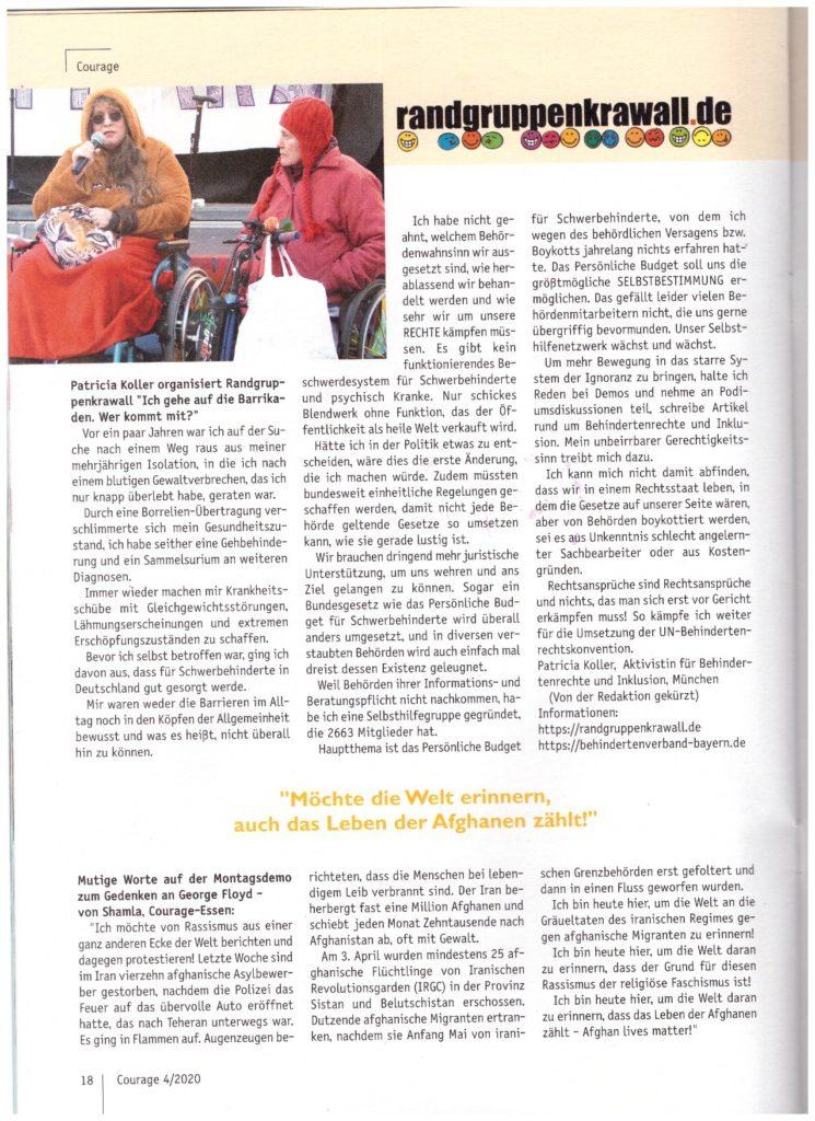 Artikel mit Foto in der Zeitschrift Courage