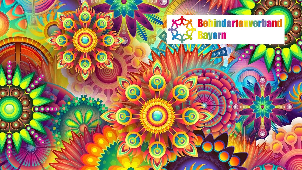Bunte Blumen mit dem Logo vom Behindertenverband Bayern e.V.